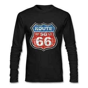 Casual Route 66 SG T Shirt Streetwear T-shirt Men Cotton Long Sleeve  T Shirts