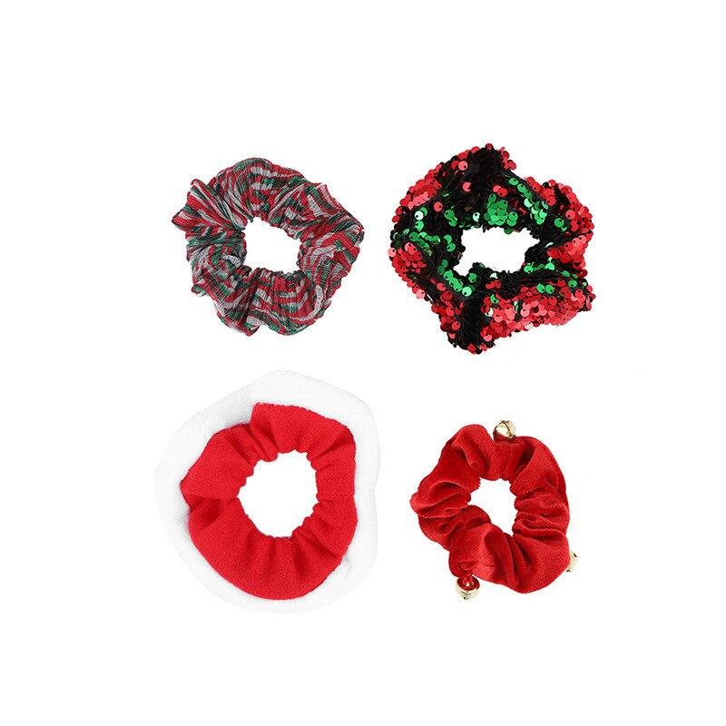 Pinzas navideñas para el pelo elásticas para mujeres y niñas, adornos navideños a la moda, Anillo para el pelo, soporte de cola de caballo de terciopelo