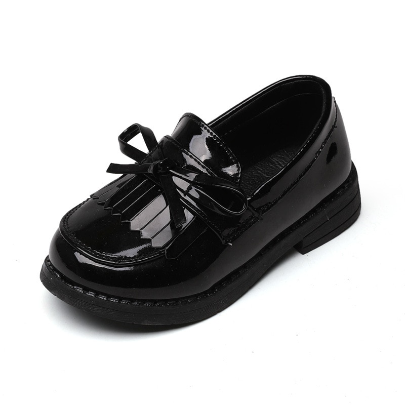 Children girls leather shoes spring/autumn kids boys single shoes with bow fashion princess shoes st