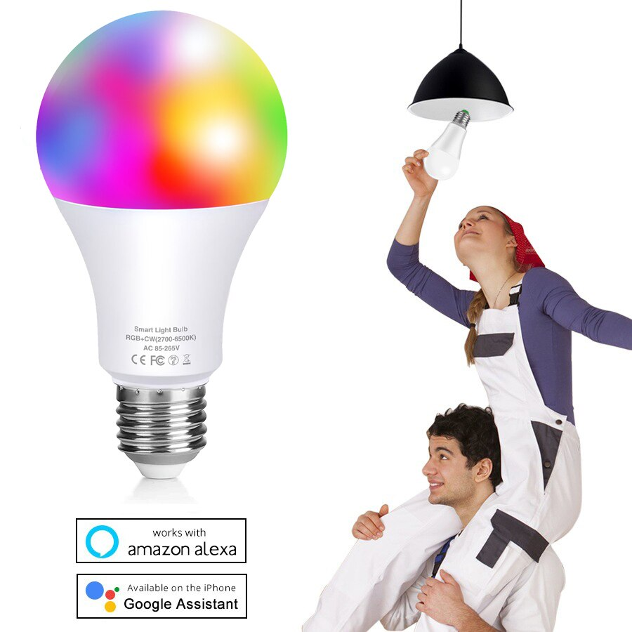 new e27 rgbw led lamp wifi smart light bulb 7w dimmable multicolor wake up lights compatible with alexa and google assistant Rgbw Multicolor 80W Equivalent WiFi Color Changing and Tunable White Dimmable Alexa or Google Assistant LED Smart Light Bulb