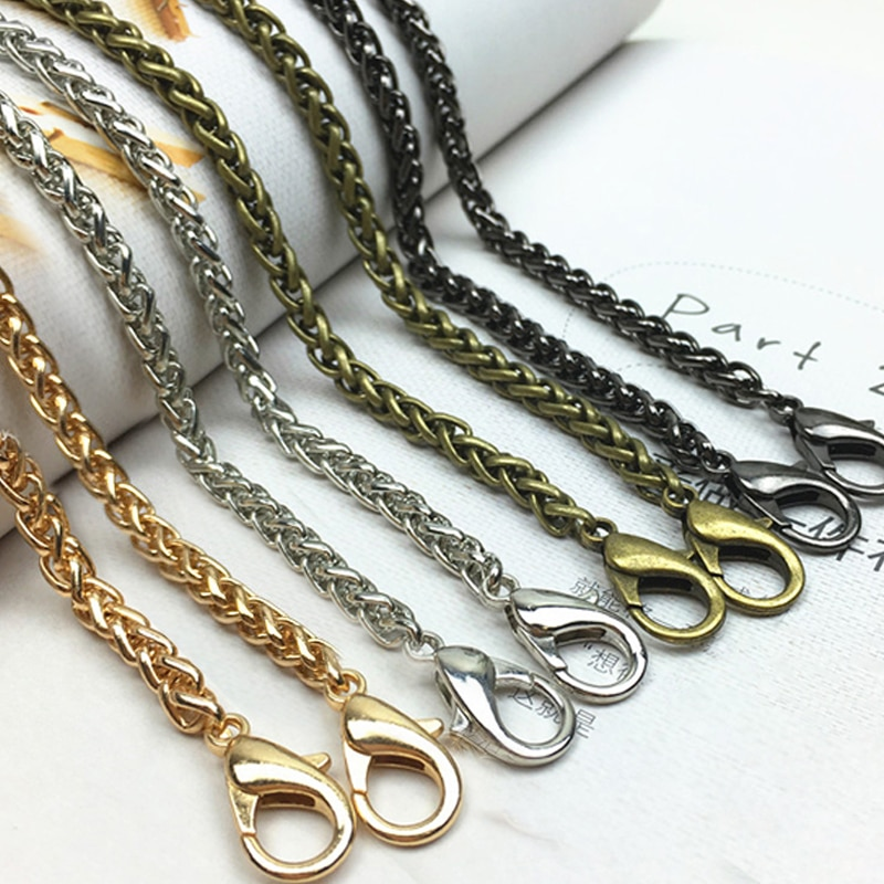 Gold/Silver/Gun Black/Bronze 5mm Metal Replacement Purse Chain Shoulder Crossbody Bag Strap for Cluth Bag, Small Handbag Handle