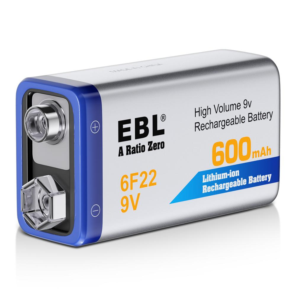 EBL 9V Li-ion Rechargeable Battery 6F22 600mAh Lithium Batteries for Multimeter Microphone Toy Remote Control недорого