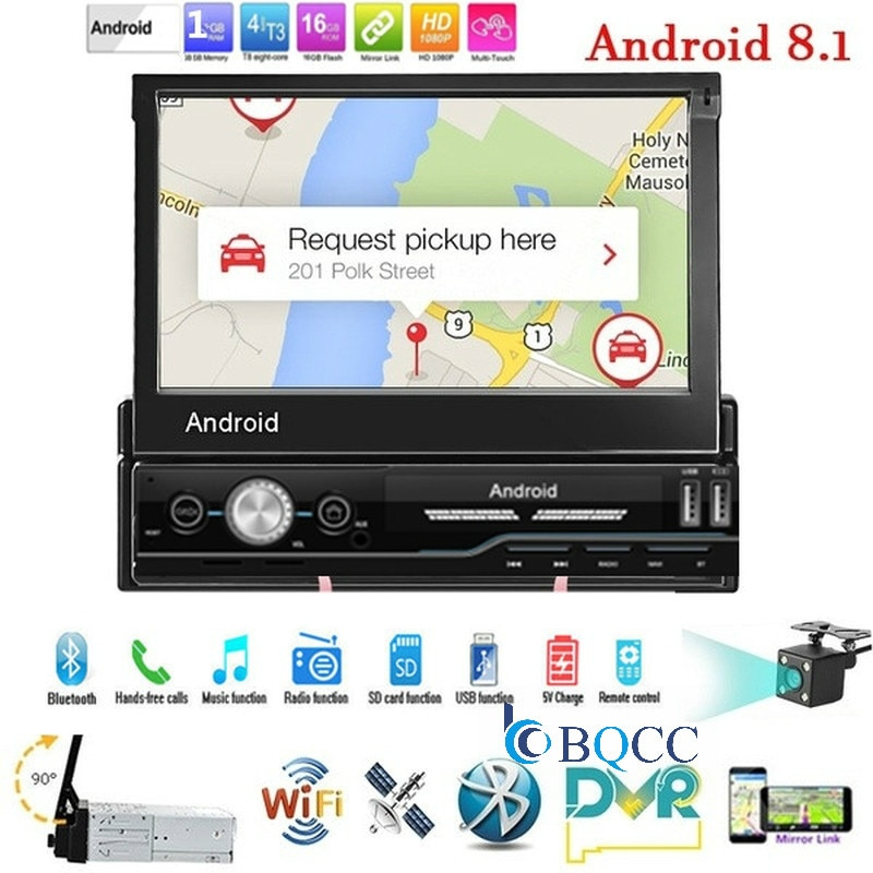 Android 8.1 autoradio rádio do carro 1 din 7 din player tela de toque jogador do carro navegação gps wifi auto mp5 bluetooth usb fm câmera de visão traseira