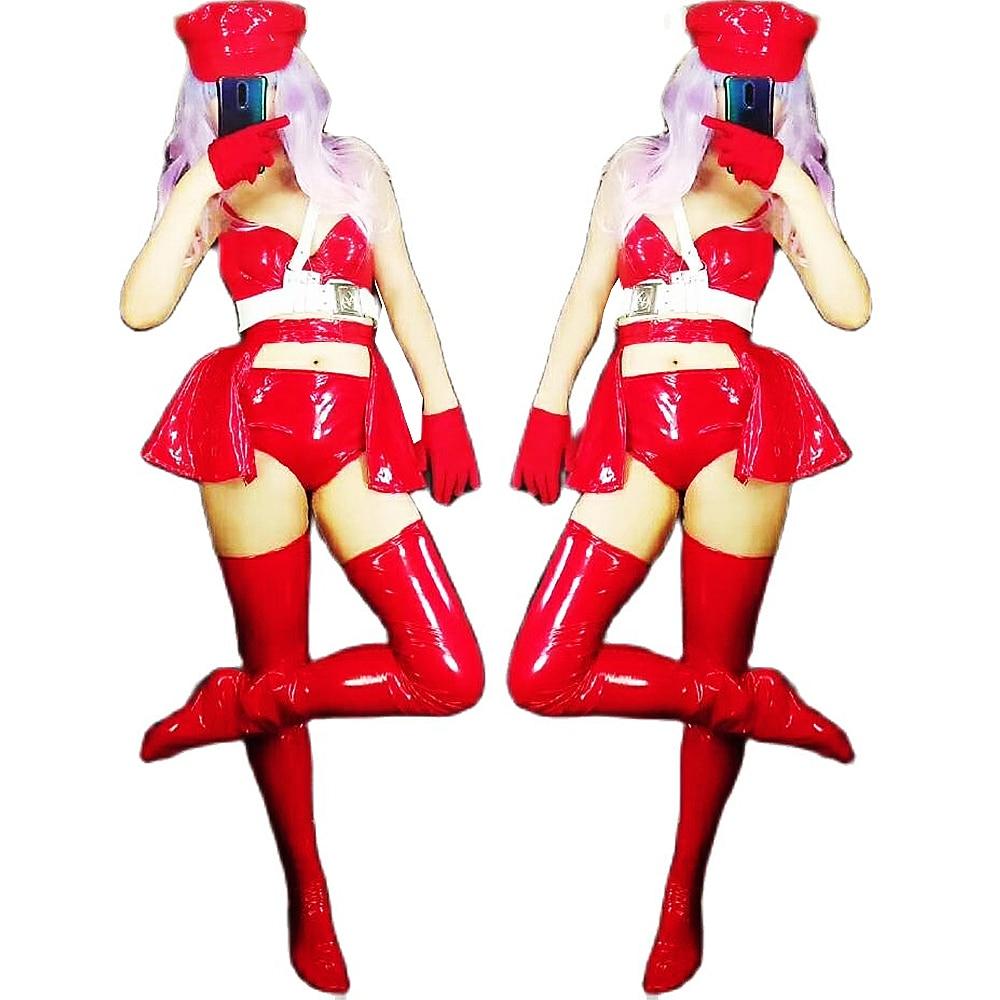 الأحمر لامعة قوة مرنة Bodycon مجموعات المرحلة ارتداء سيدة بار الرقص أداء دعوى ملهى ليلي الزي الزي ازياء مثير زي