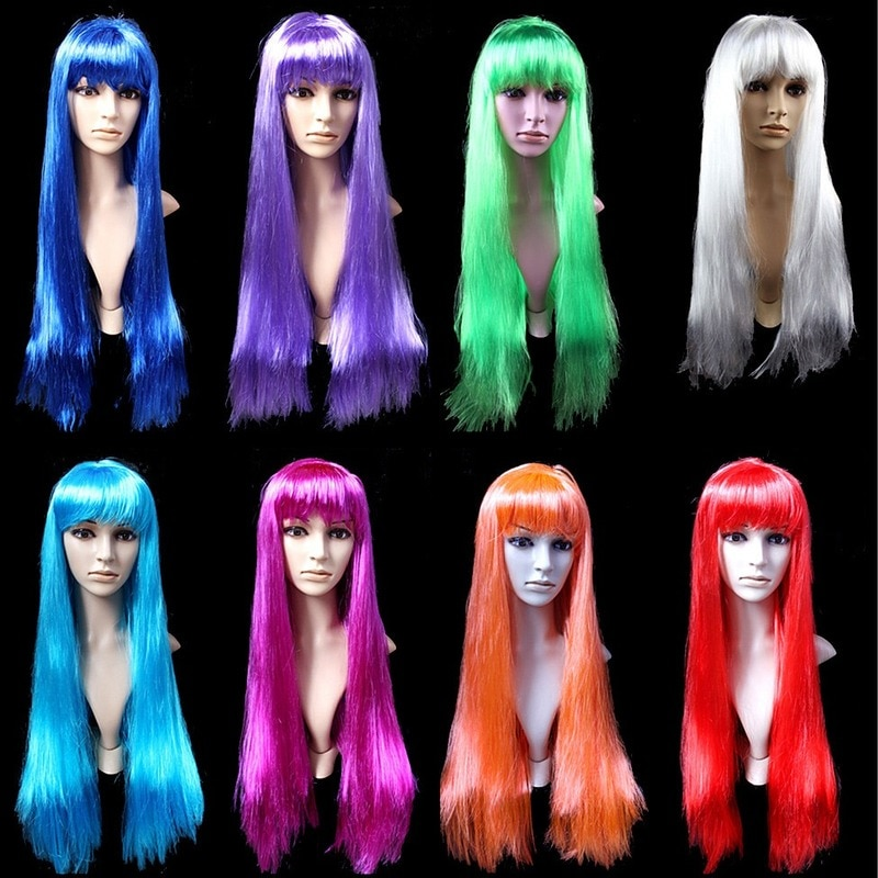 Peluca de pelo de Cosplay divertida para el Día de los enamorados, peluca de pelo largo sintético liso para fiesta de disfraces y Carnaval para mujer, peluca de pelo de Halloween 75CM