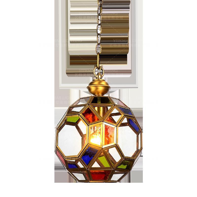 multi light colored glass pendant light 1 light single mini luxury brass lamp small globe single copper pendant light fitting