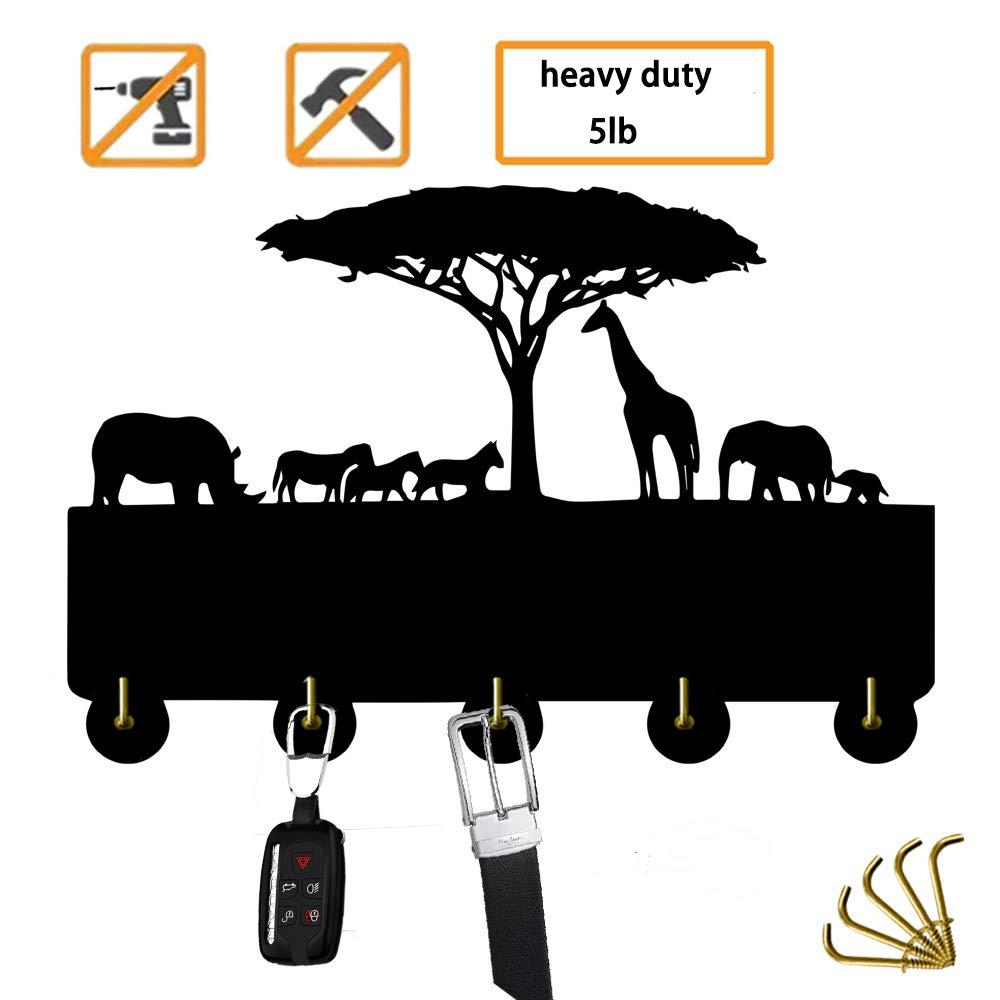Girafa animal ganchos chave ganchos selvagem animal moderno cabide decoração para casa preto heavty dever 5lb