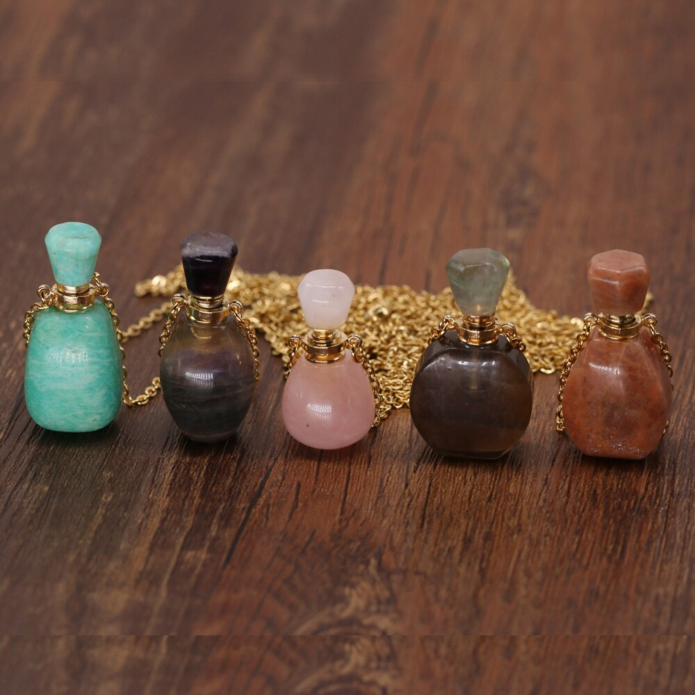Natural Stone Perfume Bottle Necklace Pink Quartz Pendant Essential Oil Diffuser Vial Charms for Women Necklaces Jewelry Gift  - buy with discount