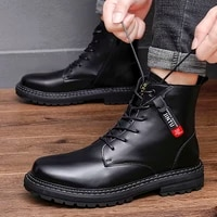 high quality motorcycle leather men luxury boots men casual shoes fashion polished luster boots for men military tactical boots