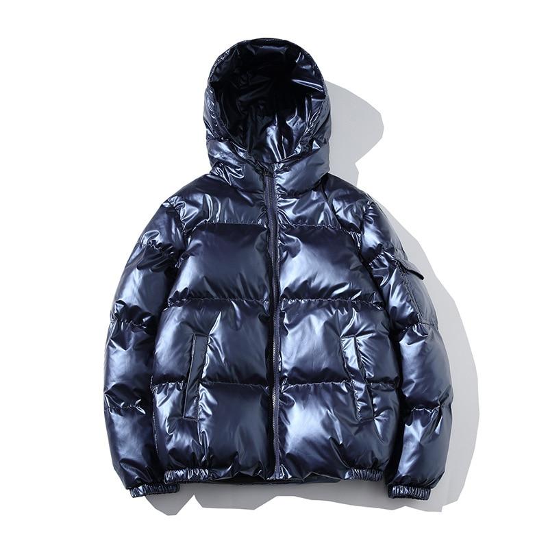 PARKLEES, зимние мужские теплые пуховики, зимние глянцевые, серебристые, черные парки с капюшоном, верхняя одежда, пальто с хлопковой подкладкой...