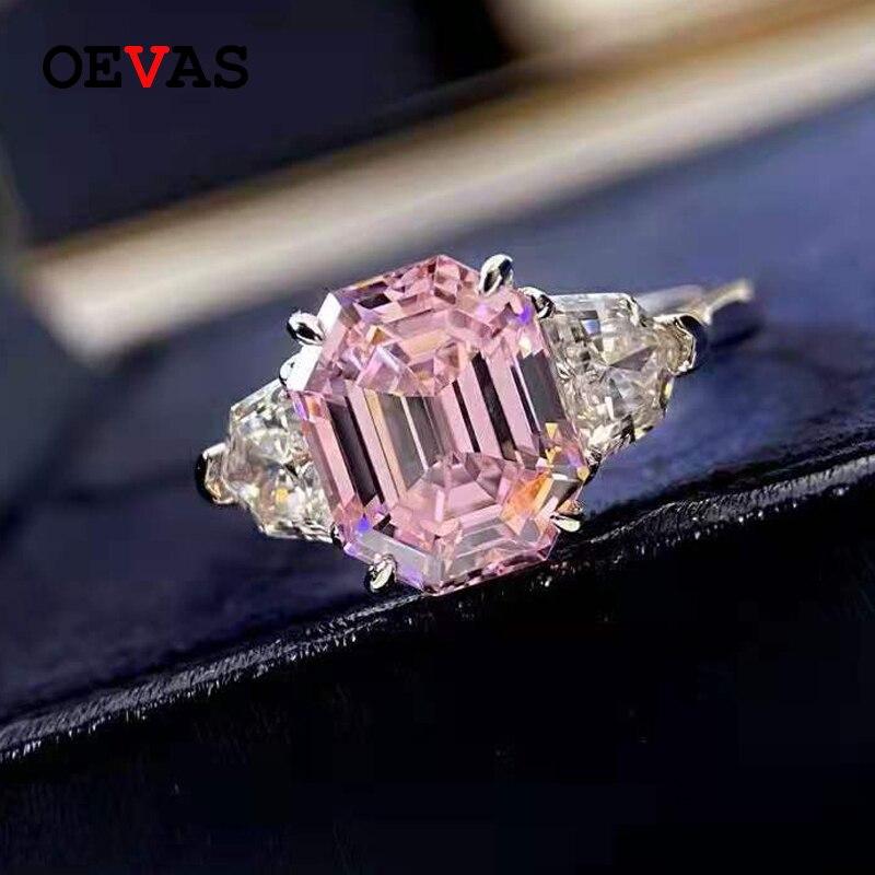 OEVAS 100% 925 فضة 4 قيراط الزمرد قص الوردي عالية الكربون خواتم زفاف من الماس للنساء تألق غرامة مجوهرات هدية