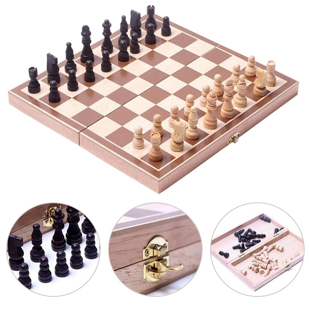 Juego de Ajedrez plegable de madera para niños y adultos, juego de...