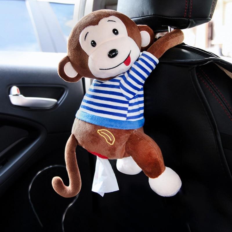 Creative Tissue Box Cute Monkey Paper Napkin Case Cute Cartoon Animals Car Paper Boxes Wall Car Hanging Napkin Holder