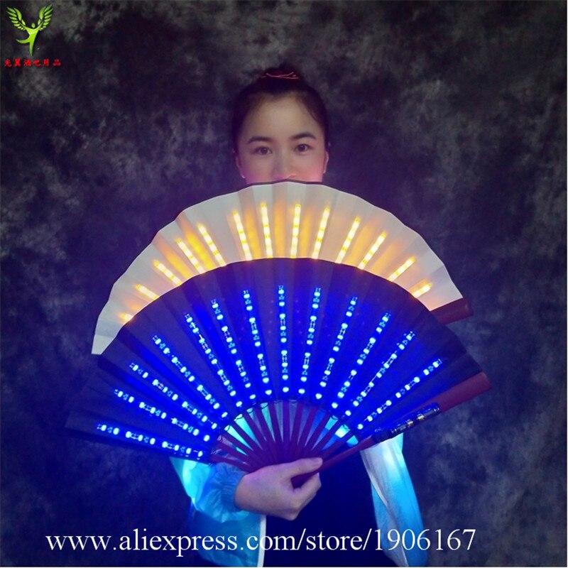 Colorido led luminoso ventilador dobrável led light up palco desempenho adereços música festival festa evento led iluminado ventilador