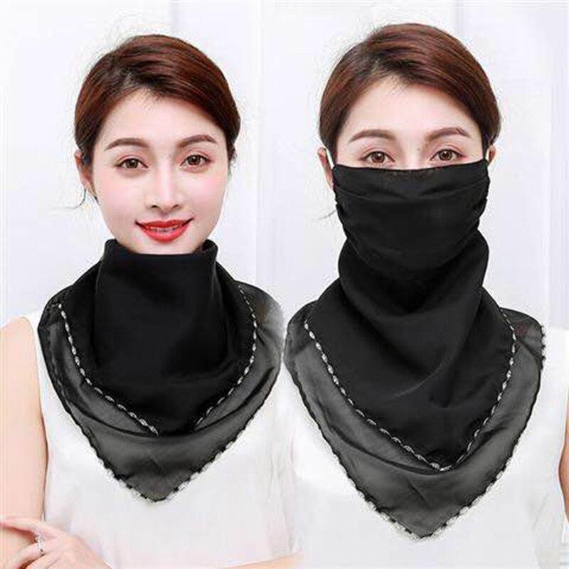 2020 las mujeres cuello máscara bufanda de las mujeres estampado de moda pelo flor rayas pañuelo protector solar de verano sombreros Scarve