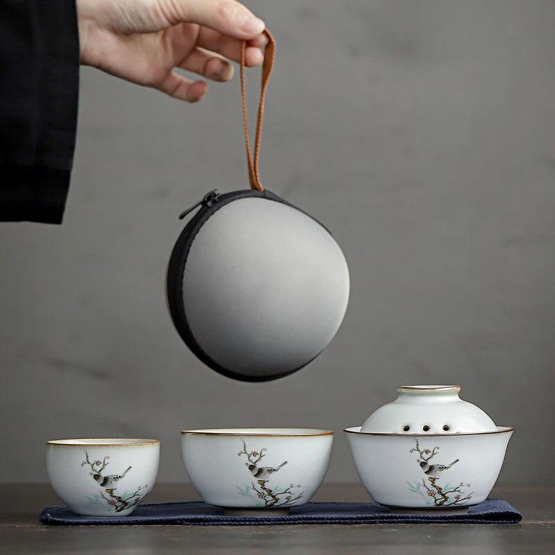 طقم شاي من السيراميك عالي الجودة للسفر من Gaiwan كوب سريع محمول كوب واحد وأكواب وإبريق شاي في الهواء الطلق أدوات للشرب هدية جديدة