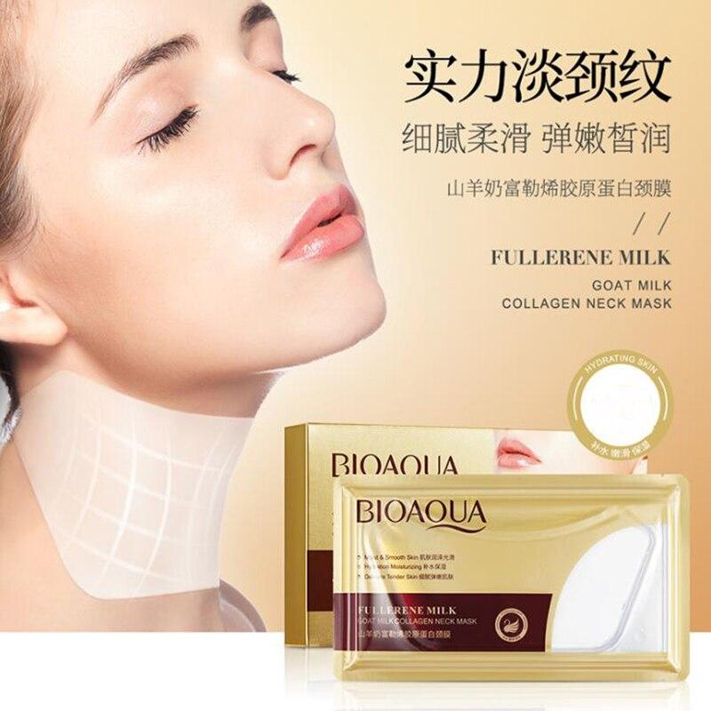 1 unidad de máscara de cuello de leche de cabra Fullerene colágeno Membrana de cuello para apretar la piel máscara de cuello antienvejecimiento blanqueamiento máscara de cuello