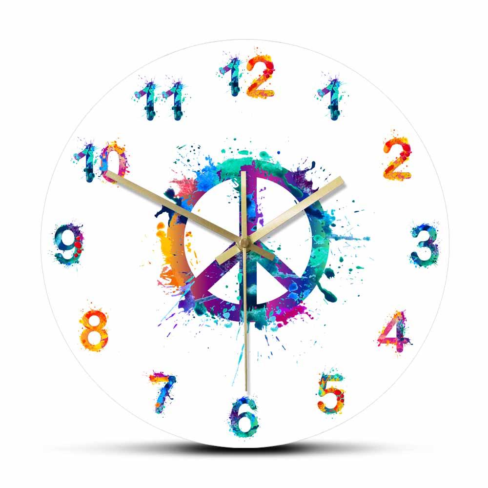 Símbolo de la paz en salpicaduras de acuarela Reloj de pared decorativo decoración de la paz y el amor decoración del hogar colgante de pared silencioso reloj regalo de inauguración
