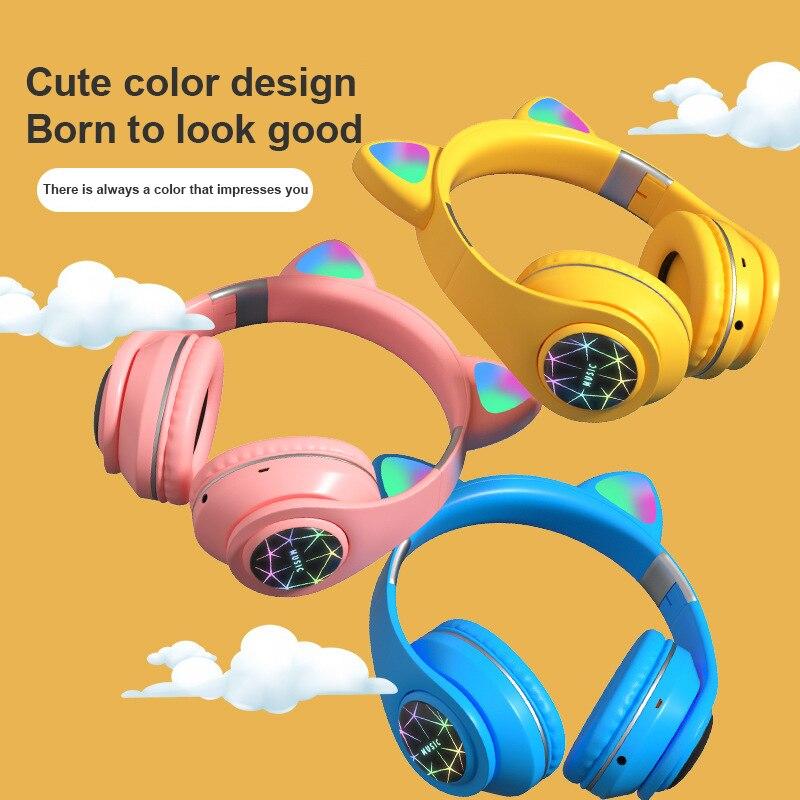 Nouveau M2 casque doreille de chat casque lumineux sans fil Bluetooth monté sur la tête avec Microphone Support mains libres TF carte AUX Play