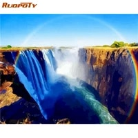 ruopoty diy paint by numbers landscape oil painting by numbers waterfall on canvas handpaint pictures by numbers