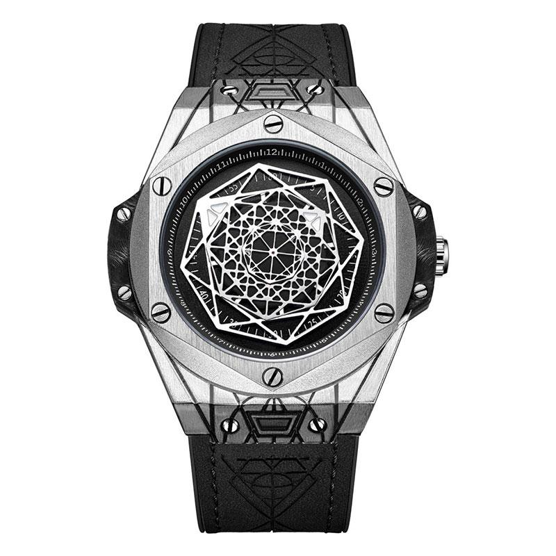 Exquisite Gentleman Geometry Identity Personalized Quartz Watch Waterproof Fashion Glass Mirror Round Dial TT@88
