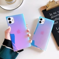 2021 the iphone 12 square purple laser phone case apple se transparent imd soft shell fashion xsmax is suitable for anti fall