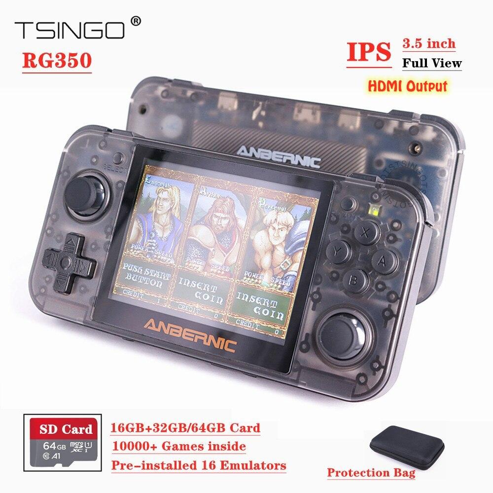 Nuevo sistema de consola de juegos Retro RG350 Linux 3,5 pulgadas pantalla IPS 10000 + juegos en 16G + 32G/64G tarjeta PS1 emulador RG 350 reproductor de juegos