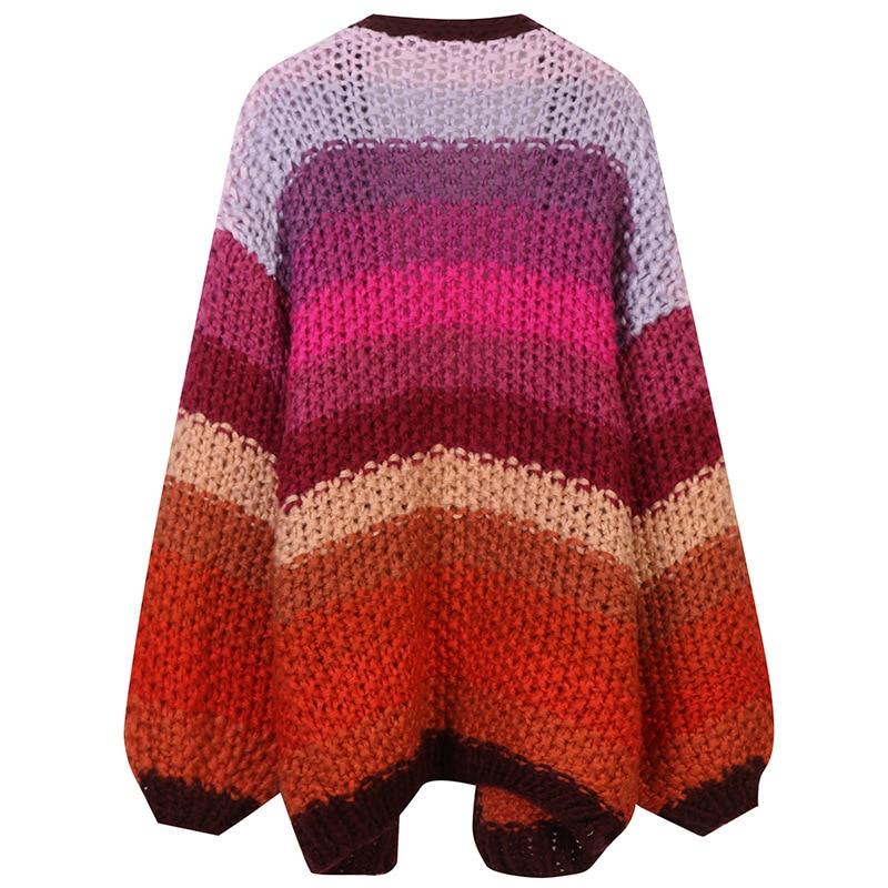 SHUCHAN Knit Sweater Women V-Neck Thick Winter Indie Folk  Open Stitch  Vintage Cardigan Keep Warm Kimono Cardigan enlarge