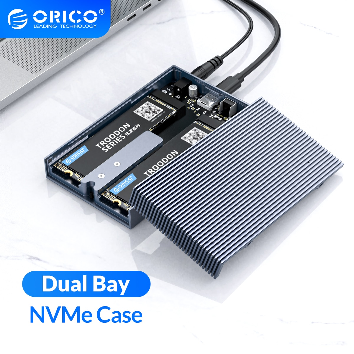ORICO Dual Bay Aluminum M.2 NVME SSD Enclosure USB C 3.1 Gen2 10Gbps For M Key & M/B Key NVME PCIe SSD With 5V4A Power Adapter