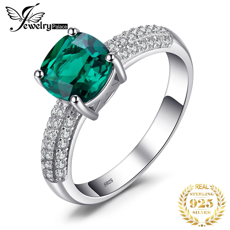 JewelryPalace-خاتم من الفضة الإسترليني والزمرد الصناعي للنساء ، خاتم الخطوبة ، 925 الفضة الاسترليني ، 925 الفضة ، الأحجار الكريمة