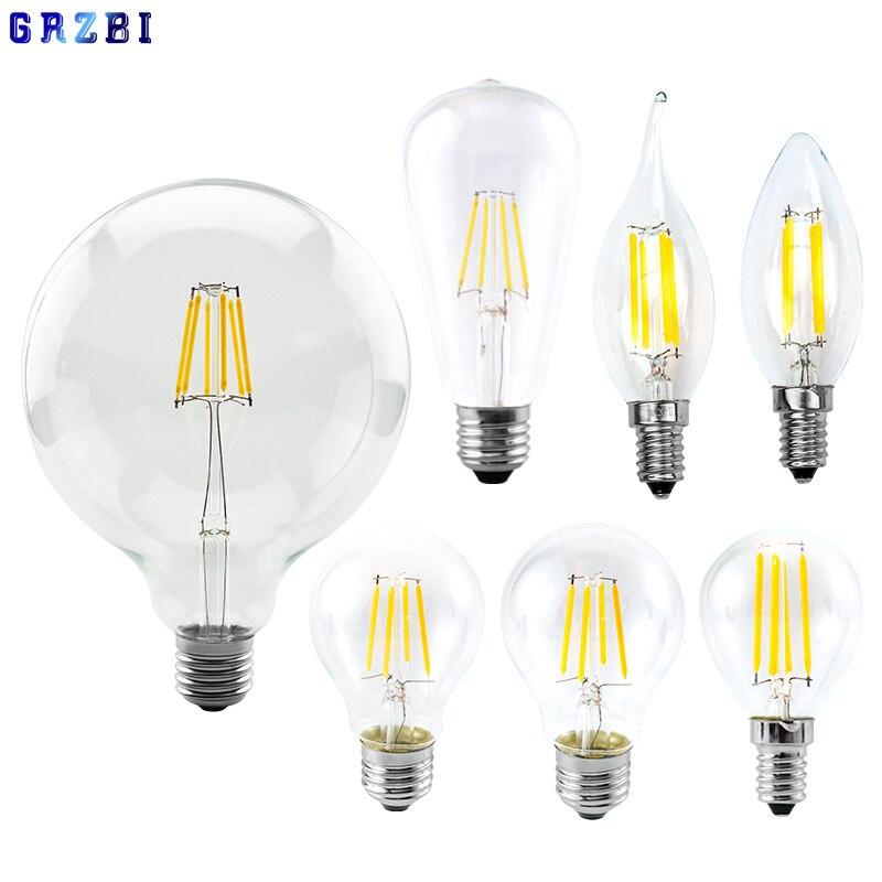 Винтажная Светодиодная лампа накаливания Edison E27 E14, 220-240 В, светильник 35, G45, A60, ST64, G80, G95, G125, стеклянная лампа в виде свечи