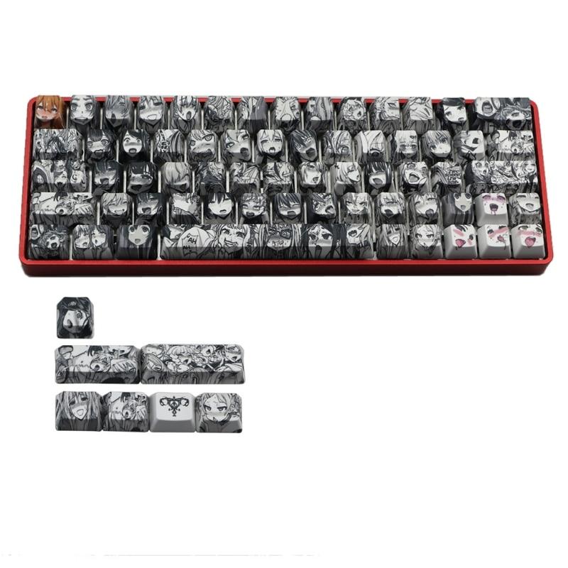 2021 جديد PBT 71 مفتاح Ahegao Keycap صبغ التسامي OEM الشخصي انمي ياباني Keycap ل الكرز Gateron Kailh التبديل GK61 GK64