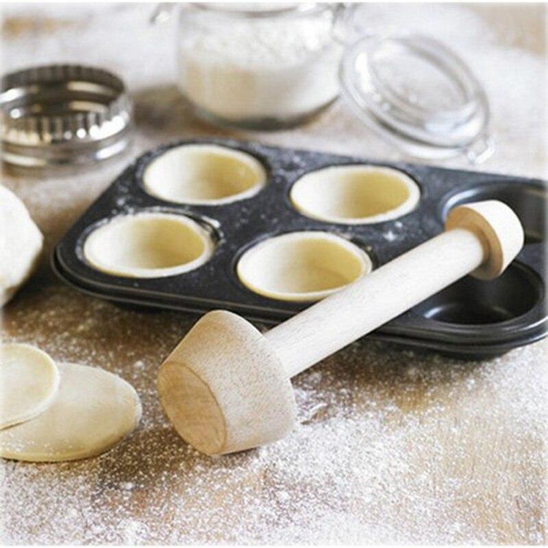 Nuevo empujador de tarta de huevo de madera, doble cara, Tamper, empujador de pastelería, cortador de galletas, Set para molde de tarta de huevo, hornear, torta, herramientas de cocina 1