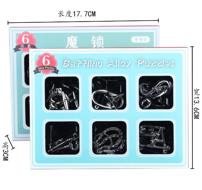 6 шт. в наборе IQ металлические головоломки из сплава паззлы игра решение для взрослых детей