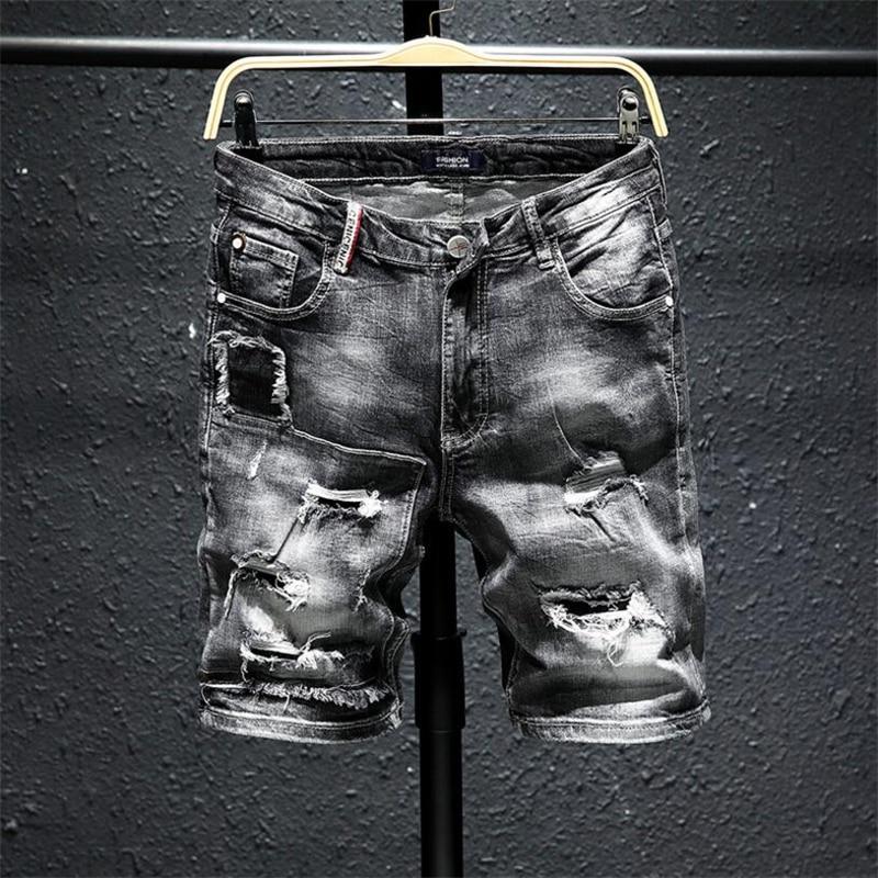 Men Gray Ripped Denim Shorts New Summer Holes Black Short Jeans High Quality soft Cotton Stretch Jean Short Knee Length Jeans