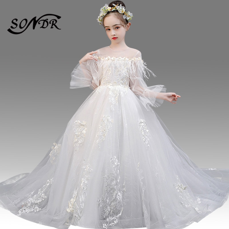 White Flower Girl Dress For Weddings HT138 Embroidery Lace Kids Princess Dresses Tassel Long Sleeve Flower Girls Ball Gowns drop shoulder flower embroidery tassel tie dress