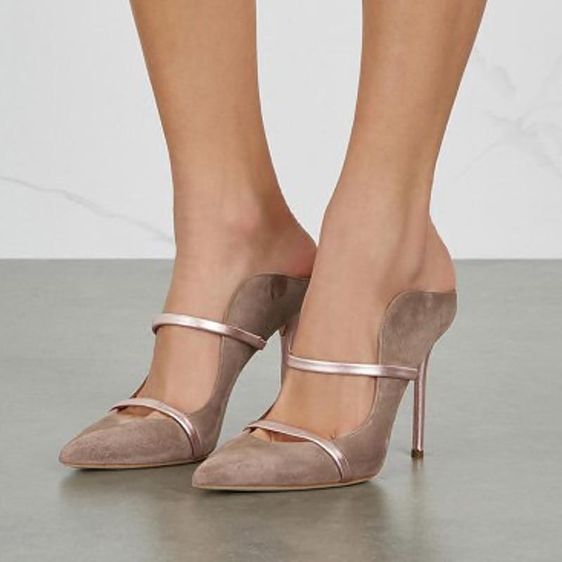 Summer 2021 Women's Pumps Super High Heel Thin Heels Sexy Suede Single Shoe Fashion Social Women's Shoes Slingbacks Sandals