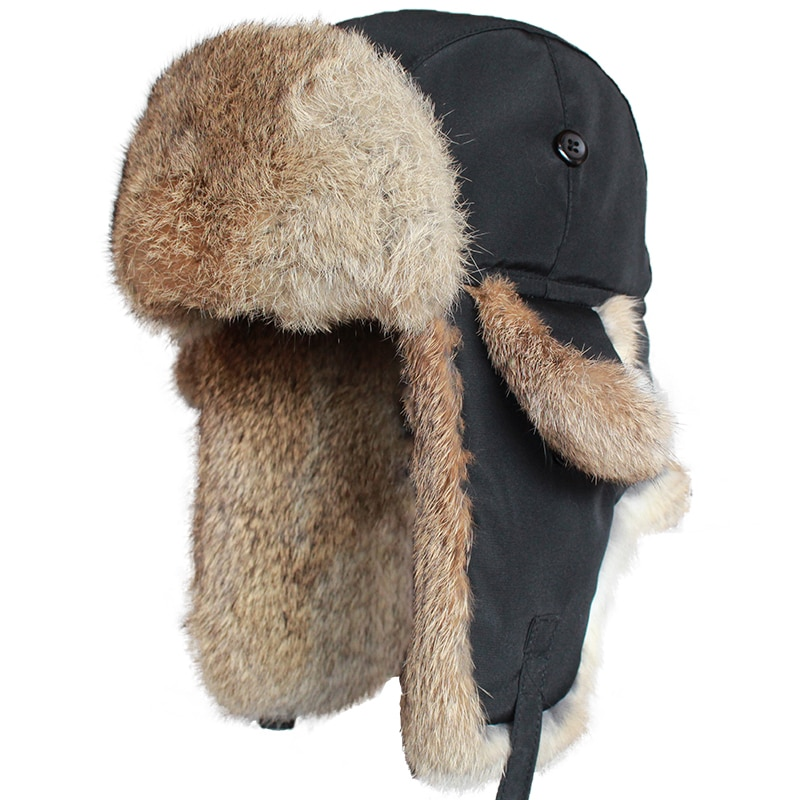 Ushanka-قبعة منفوخة من فرو الأرانب للرجال والنساء ، قبعة شتوية روسية للثلج مع غطاء للأذن ، قبعة سميكة ودافئة