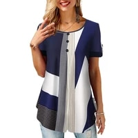 summer women loose casual printed round neck short sleeves plus size t shirts summer tops