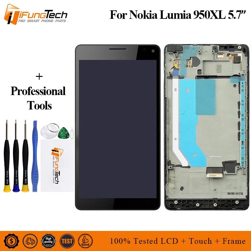 Para Nokia Lumia 950XL pantalla lcd digitalizador de pantalla táctil con Marco Conjunto completo para Nokia 950 XL LCD envío gratis + herramientas