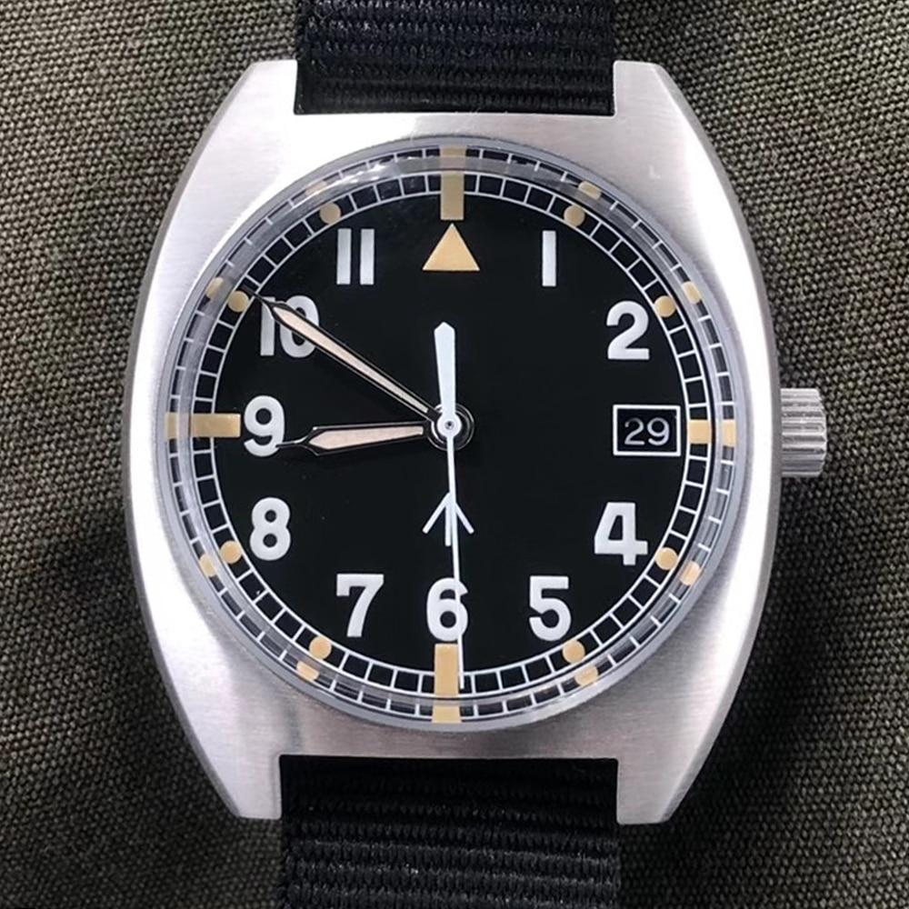 ريترو الطيار W10 ساعة رجالي NH35 التلقائي الميكانيكية ساعة اليد 100 متر غواص ساعة سلاح الجو الرياضة الياقوت مضيئة الساعات 2021