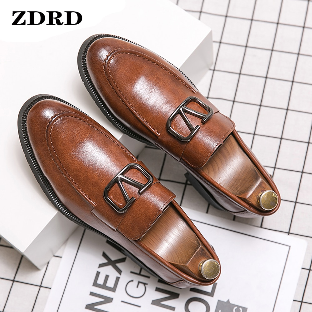 Luxury Men Loafers Shoes Brogue Wing Tip Monk Strap Slip On Brown Black Formal Man Dress Office Wedding Casual Men Leather Shoes