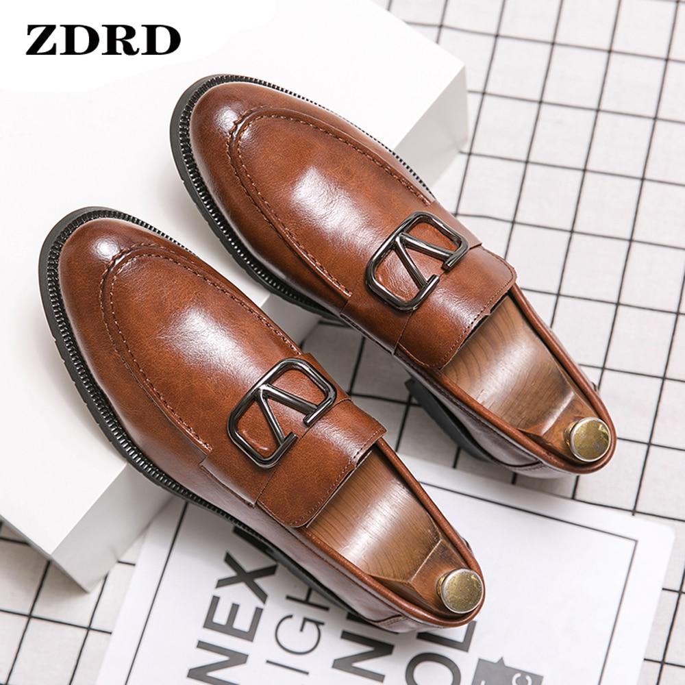 Luxury Men Loafers Shoes Brogue Wing Tip Monk Strap Slip On Brown Black Formal Man Dress Office Wedd