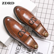 Luxury Men Loafers Shoes Brogue Wing Tip Monk Strap Slip On Brown Black Formal Man Dress Office Wedd
