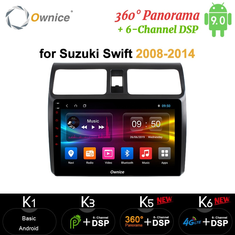 Ownice Octa core Android9.0 car radio gps DVD player carplay 4G LTE 360 Panorama DSP SPDIF 64G ROM for suzuki swift 2008 - 2014