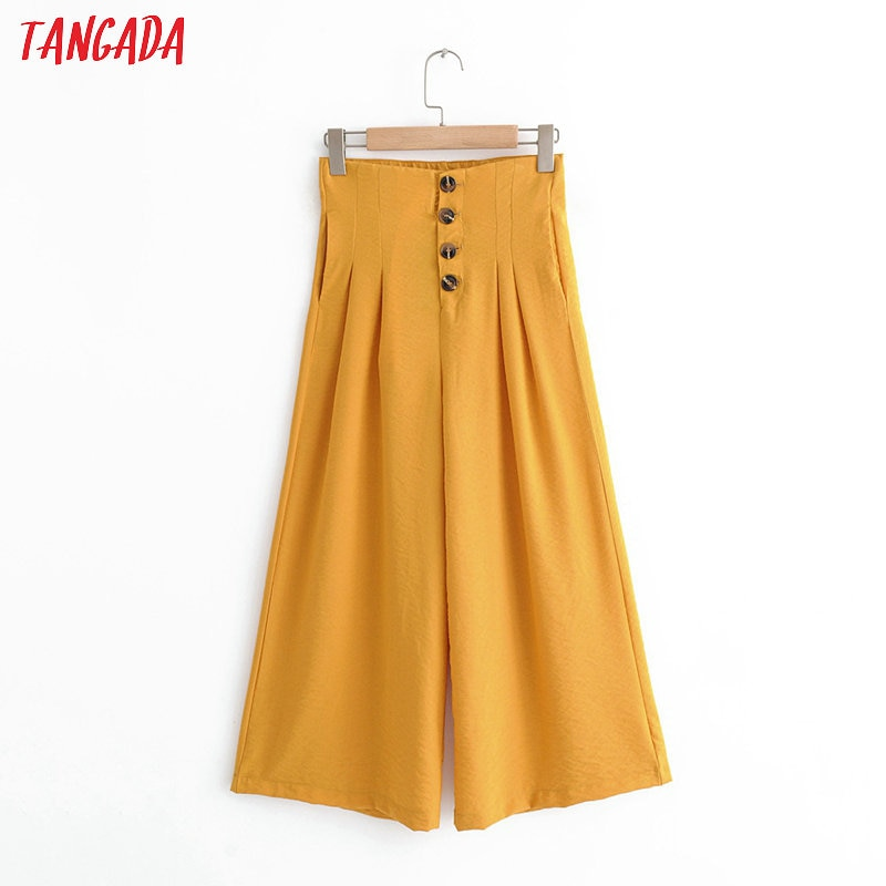 Tangada moda mujer naranja winde pierna pantalones con botones bolsillos strehy cintura Oficina señora pantalones pantalon QJ48