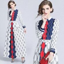 Retro Runway Vestidos Longo Women's Chain Floral Letter Print 2020 Spring Summer A Line Dresses Elegant Long Sleeve Maxi Dress