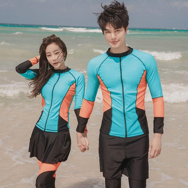 Esportes maiô manga longa feminino rash guard kitesurf natação amantes de surf cor saia zíper calças treinamento grande tamanho listrado