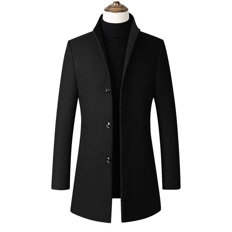 Fashon-سترة صوف رجالية غير رسمية ، معطف صوف بياقة ضيقة ، معطف طويل بياقة قطنية ، معطف واق من المطر ، دروبشيبينغ Z 902