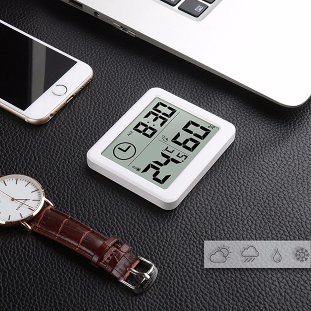 Multifunction Thermometer Hygrometer Automatic Electronic Temperature Humidity Monitor Clock 3.2inch